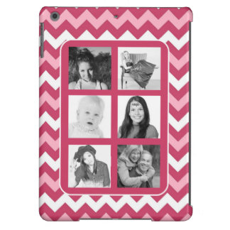 Girly Pink Chevrons Instagram Photo Collage iPad Air Case
