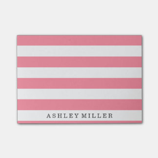Girly Pink Classic Stripes Monogram Notes Post-it® Notes