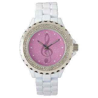 Girly Pink Clef and Musical Notes Watch