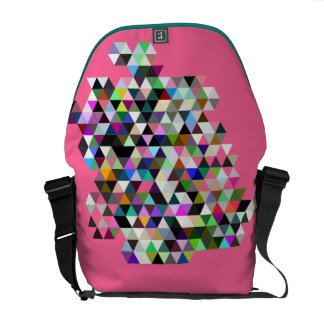 Girly Pink Color Triangle Pattern Messenger Bag
