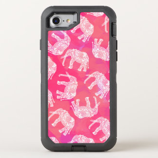 girly pink colorful tribal floral elephant pattern OtterBox defender iPhone 8/7 case