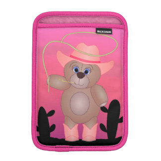 Girly Pink Cowgirl Teddy Bear Cartoon Mascot iPad Mini Sleeve