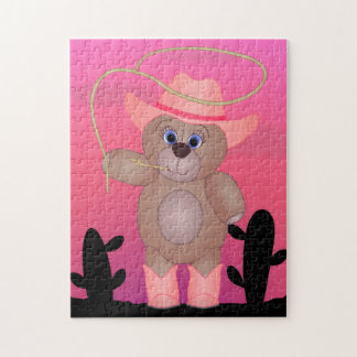Girly Pink Cowgirl Teddy Bear Cartoon Mascot Jigsaw Puzzle