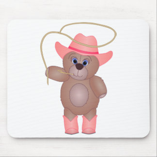 Girly Pink Cowgirl Teddy Bear Cartoon Mascot Mouse Mat