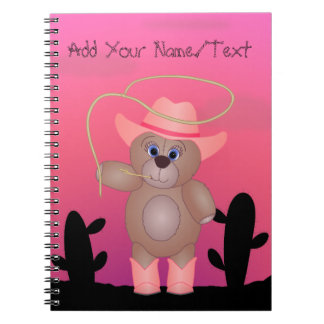 Girly Pink Cowgirl Teddy Bear Cartoon Mascot Notebook