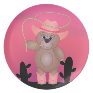 Girly Pink Cowgirl Teddy Bear Cartoon Mascot Plate