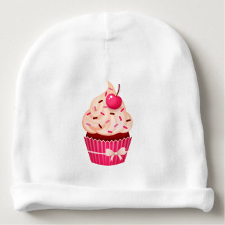 Girly Pink Cupcake With Sprinkles and Cherry Baby Beanie