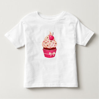 Girly Pink Cupcake With Sprinkles and Cherry Toddler T-Shirt