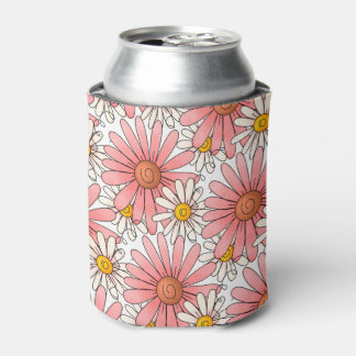 Girly Pink Daisies and White Daisies Can Cooler