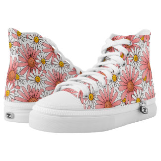 Girly Pink Daisies and White Daisies High Tops