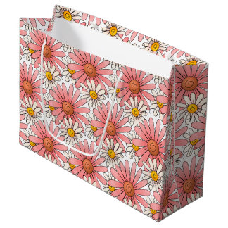 Girly Pink Daisies and White Daisies Large Gift Bag