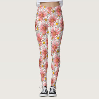 Girly Pink Daisies and White Daisies Leggings