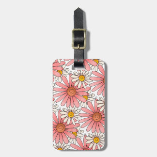 Girly Pink Daisies and White Daisies Luggage Tag