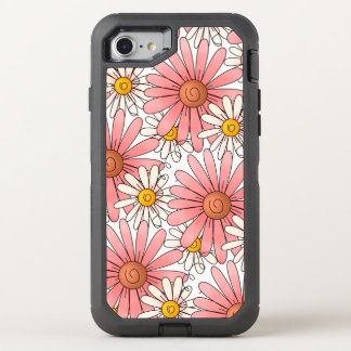 Girly Pink Daisies and White Daisies OtterBox Defender iPhone 7 Case