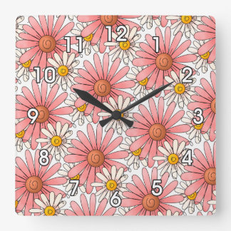 Girly Pink Daisies and White Daisies Square Wall Clock