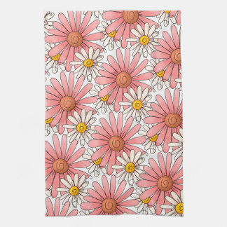 Girly Pink Daisies and White Daisies Tea Towel