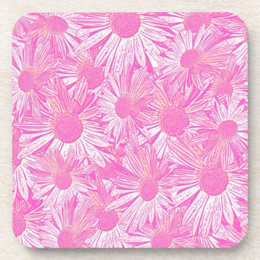 Girly pink daisies drink coasters