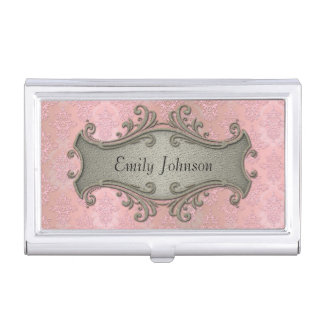 Girly Pink Damask Fancy Victorian Business Card Holder