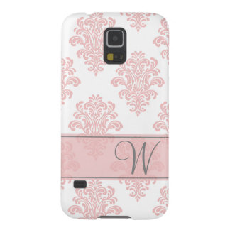 Girly Pink Damask Monogram Galaxy S5 Covers