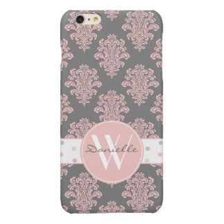 Girly Pink Damask Monogram iPhone 6 Plus Case
