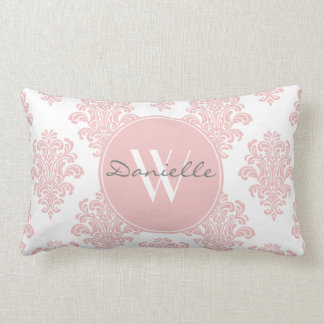 Girly Pink Damask Monogram Lumbar Cushion
