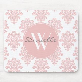 Girly Pink Damask Monogram Mouse Pad