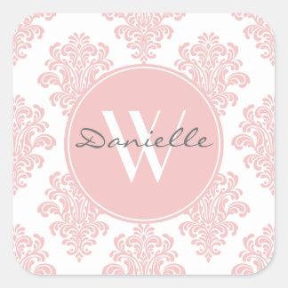 Girly Pink Damask Monogram Square Sticker