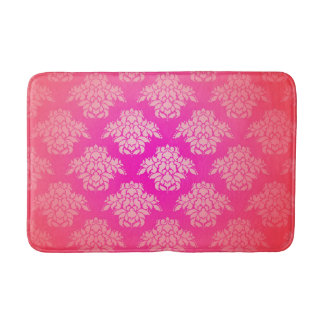 Girly Pink Damask Pattern Elegant Bohemian Bath Mat