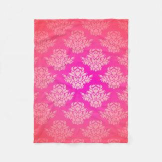 Girly Pink Damask Pattern Elegant Bohemian Fleece Blanket