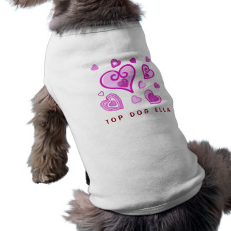 Girly PINK Doodle Hearts A05 Pet T Shirt