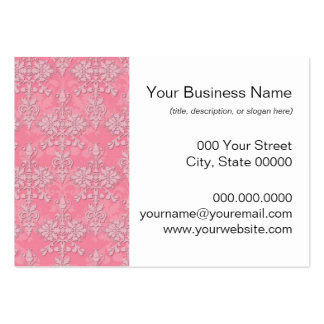 Girly Pink Double Damask Pattern Business Card Template