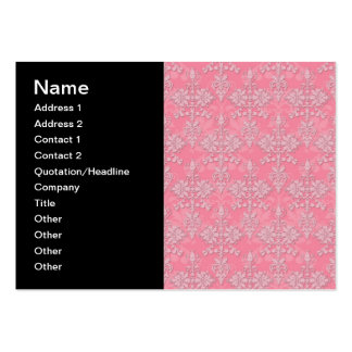 Girly Pink Double Damask Pattern Pack Of Chubby Business Cards
