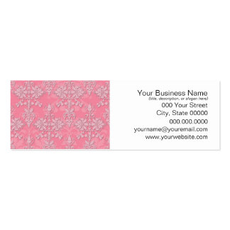 Girly Pink Double Damask Pattern Pack Of Skinny Business Cards