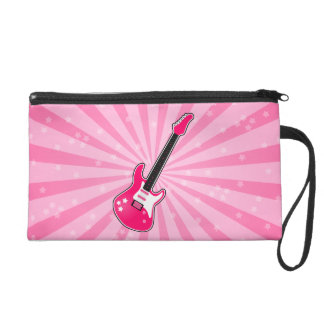 Girly Pink Electric Guitar Wristlet Clutch