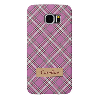 Girly Pink Fabric Plaid Tartan Pattern Samsung Galaxy S6 Cases