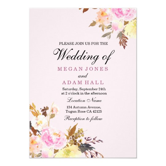 Girly Pink Floral Fall Garden Wedding Invitation