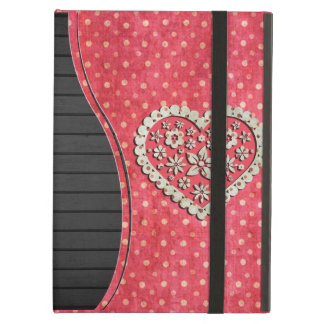 Girly Pink Floral Heart on Polka Dots Case For iPad Air