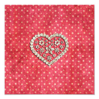 Girly Pink Floral Heart on Polka Dots Photo Art