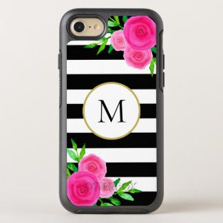 Girly Pink Floral Monogram Black White Striped OtterBox Symmetry iPhone 8/7 Case