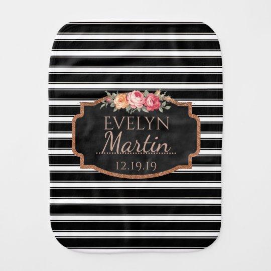 Girly Pink Floral Monogram | Black White Stripes