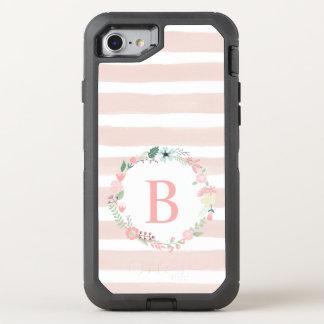 Girly Pink Floral Monogram OtterBox Defender iPhone 8/7 Case