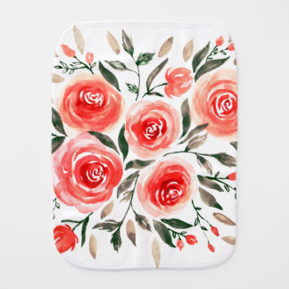 Girly Pink Floral Roses Watercolor Illustration Burp Cloth