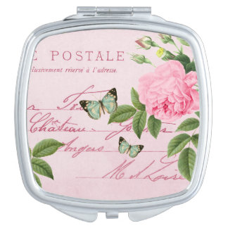 Girly pink floral vintage compact mirror w/ rose