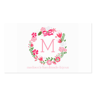 Girly Pink Floral Wreath Personalized Monogram Business Card