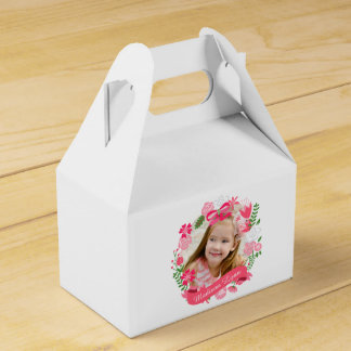 Girly Pink Floral Wreath Photo Custom Favour Boxes