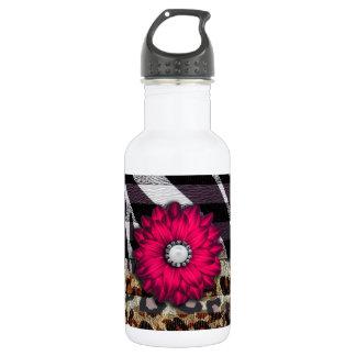 Girly Pink Flower on Cheetah Zebra Print 532 Ml Water Bottle
