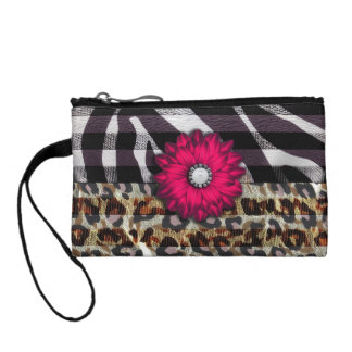 Girly Pink Flower on Cheetah Zebra Print Coin Purse