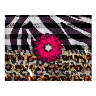 Girly Pink Flower on Cheetah Zebra Print Postcard
