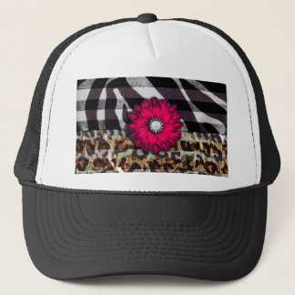 Girly Pink Flower on Cheetah Zebra Print Trucker Hat