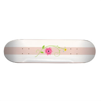 Girly Pink Flowers And Stripes Skate Board Decks